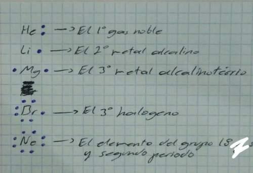 1. escribir los 5 simbolos de lewis de: @ el 2° metal alcalina© el 1° gas noble© e
